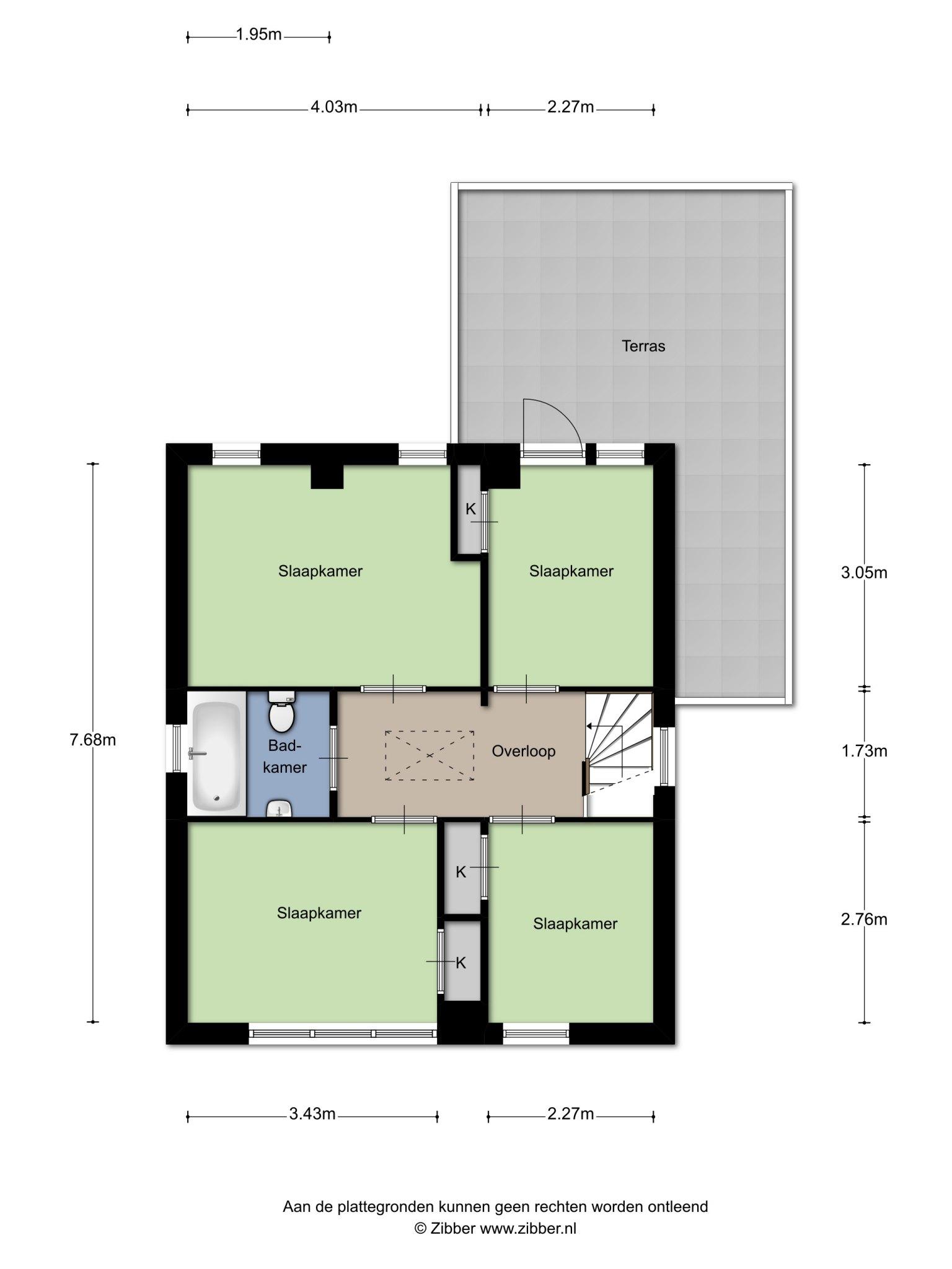 Gratis plattegrond -- 1e verdieping vrijstaande woning met garage Made